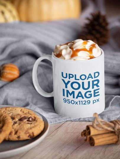 11 oz Coffee Mug Mockup Featuring a Table With Fall Decorations 29145