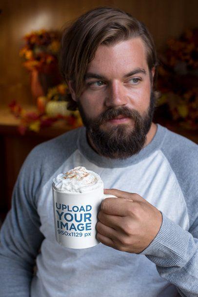 11oz Coffee Mug Mockup of a Man Having a Pumpkin Latte 29142