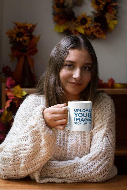 11 oz Coffee Mug Mockup of a Woman Drinking a Hot Beverage 29135