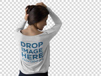 Long Sleeve T-Shirt Mockup of a Girl Grabbing her Hair b9970