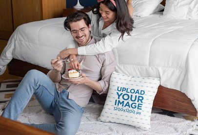 Pillow Mockup of a Couple Eating a Pie in the Bedroom 29018