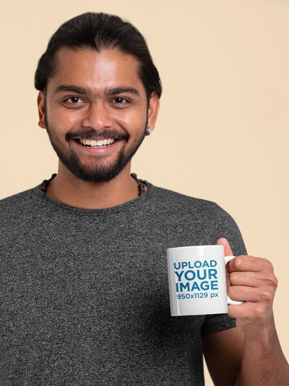 Mockup Featuring a Smiling Man Holding an 11oz Coffee Mug 29091