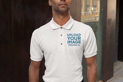 Embroidered Polo Shirt Mockup Featuring a Serious Man 28909