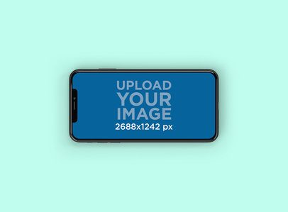Mockup Featuring an iPhone XS Max in Landscape Position Against a Solid Color Backdrop 245-el