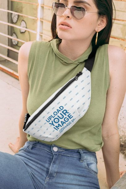 Fanny Pack Mockup Featuring a Woman with Heart-Shaped Sunglasses 29185