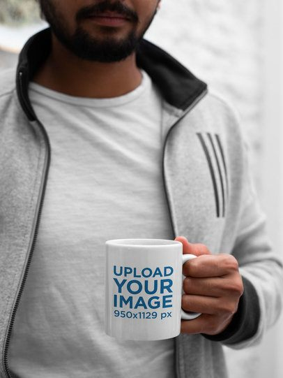 11 oz Coffee Mug Mockup of a Bearded Man with a Gray Jacket 29108