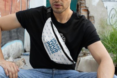 Cropped Face Mockup of a Man Wearing a Fanny Pack 29175