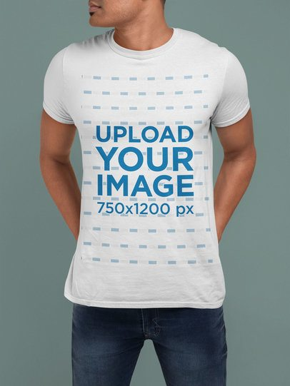 T-Shirt Mockup of a Cropped-Face Man with Hands in His Back 28954