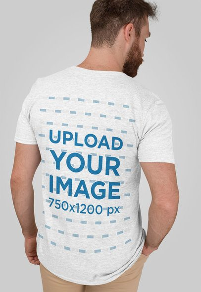 Heather T-Shirt Mockup of a Bearded Man in a Studio 28744