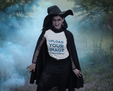 T-Shirt Mockup Featuring a Woman in a Witch Costume 29333