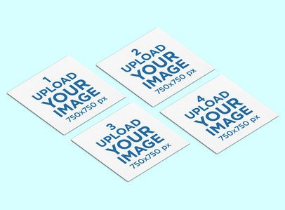 Mockup of Four Square Business Cards Against a Plain Background 289-el