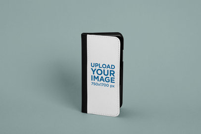 iPhone X Wallet Case Mockup with a Solid Background 29244