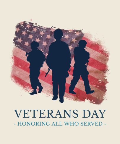 T-Shirt Design Maker for Veterans Day with Soldiers and the American Flag 1815