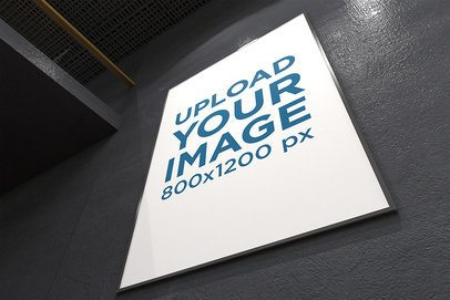 Mockup of an Exhibition Poster Frame in a Tilted Shot 315-el