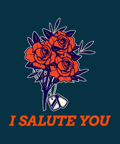 Veterans Day T-Shirt Design Creator with a Flower Arrangement Graphic 1814f