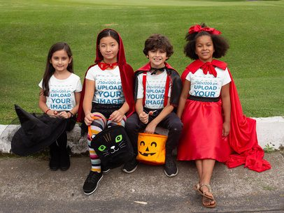 T-Shirt Mockup of a Group of Kids Celebrating Halloween 29295