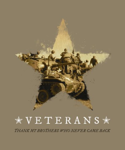 Veterans Day T-Shirt Design Maker with a War Image in a Star 1815b