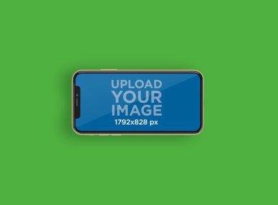 Mockup Featuring an iPhone 11 in Landscape Position Placed on a Colored Surface 232-el