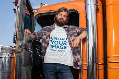 T-Shirt Mockup of a Man Posing in His Truck 29490
