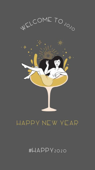 New Year's Instagram Story Maker Featuring a Cartoon Woman Inside a Wine Glass 1044a