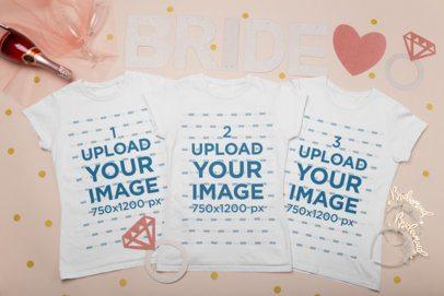 Mockup of Three Crewneck T-Shirts for a Bride Squad 29561