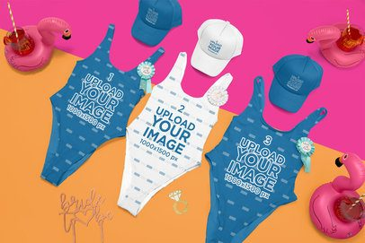 Mockup of Three Swimsuits and Trucker Hats for a Bachelorette Party Placed over a Bicolor Surface 29601