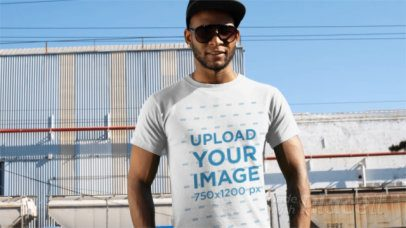 T-Shirt Video of a Cool Man in an Industrial Zone 12879