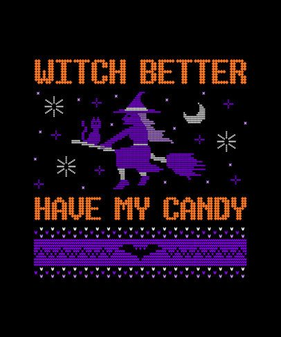 Funny Halloween T-Shirt Maker with an Ugly Sweater Style 1852a