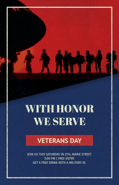 Flyer Template for a Solemn Veterans Day Festivity 1803f