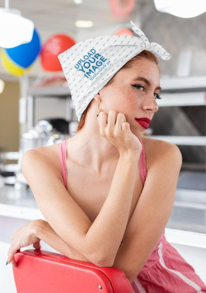 Bandana Mockup Featuring a Woman with a Pinup Style 29583