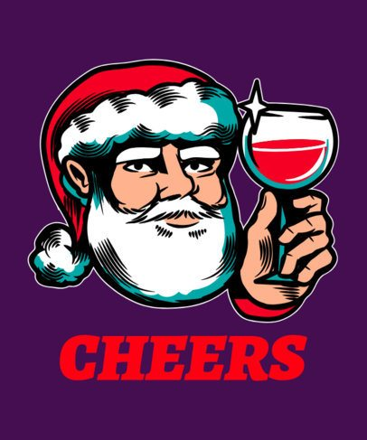 Christmas T-Shirt Design Maker Featuring a Santa Claus with a Wine Glass 1881g