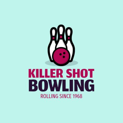 Bowling Logo Maker with a Bowling Ball and Pins Clipart 1587f-43-el