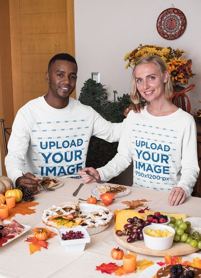 Long Sleeve T-Shirt Mockup of a Couple Having a Thanksgiving Dinner 29931