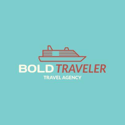 Travel Agency Logo Creator with a Cruise Ship Illustration 1148g-64-el