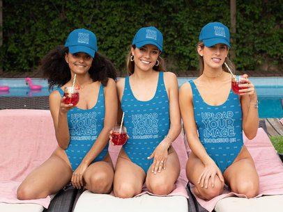 Swimsuit Mockup of Three Women Wearing Trucker Hats at a Bachelorette Party 29675