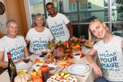Mockup of a Family Wearing Customizable T-Shirts at a Thanksgiving Dinner 29933