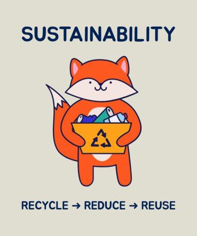 Eco-Themed T-Shirt Design Maker with a Cartoon Fox Recycling 1921c