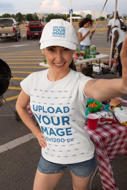 Dad Hat Mockup of a Woman with a T-Shirt Taking a Selfie at a Tailgate Party 29901