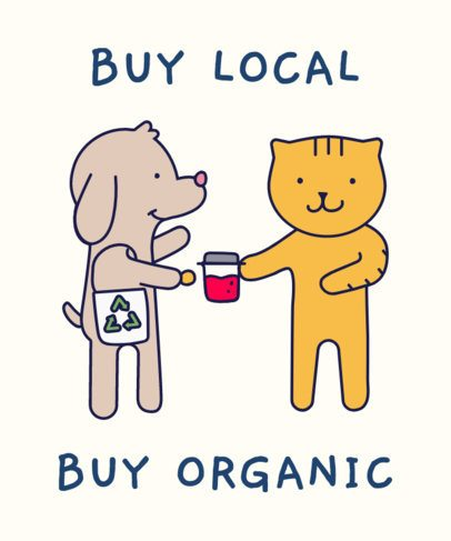 T-Shirt Design Template of Two Cartoon Animals Buying Local 1921f