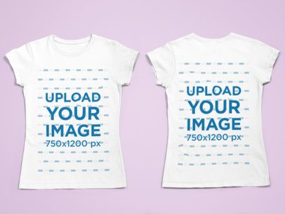 Front and Back View of a Crewneck T-Shirt Mockup 29664