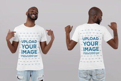 Front and Back T-Shirt Mockup of a Man Pointing at Himself 29608