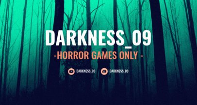 Dark-Themed Twitch Banner Template for Horror Games 1964h