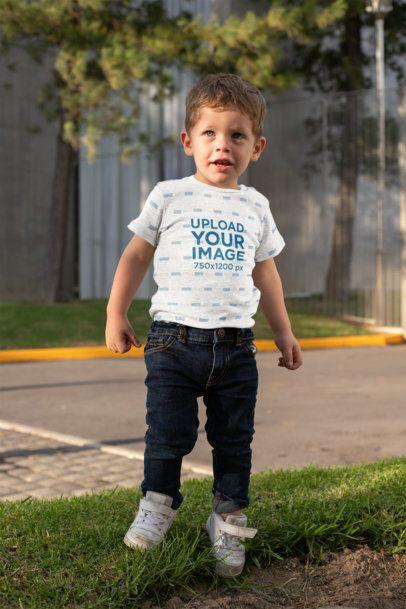 Mockup of a Little Boy Wearing a Short-Sleeve Heathered Onesie 29912