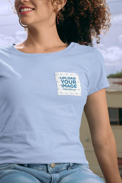 Pocket Tee Mockup Featuring a Smiling Woman with Natural Hair 30063