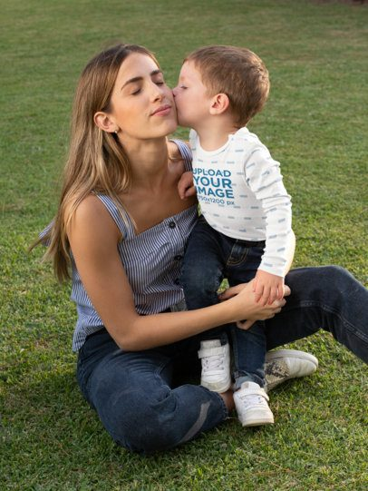Long Sleeve Onesie Mockup Featuring a Boy Kissing His Mother 29915