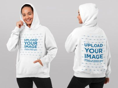 Both-Sides View Mockup of a Smiling Woman Wearing a Pullover Hoodie at a Studio 29658