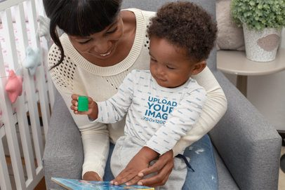 Onesie Mockup of a Baby Boy Playing with His Mom 30028