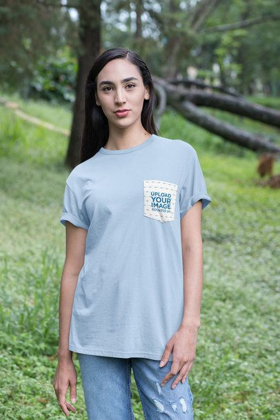 Pocket Tee Mockup Featuring a Young Woman in the Woods 30078