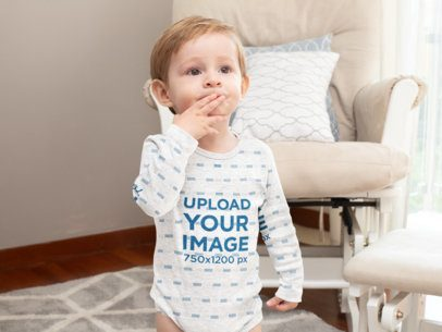 Mockup of a Baby Boy Wearing a Heathered Onesie at Home 30002