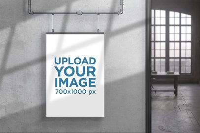 Poster Mockup Featuring an Apartment with an Industrial-Style Decoration 911-el